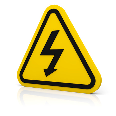 voltage symbol: Triangle sign with high voltage symbol isolated on white