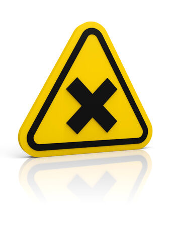damaging: Yellow rounded sign with irritant symbol. Isolated on white. Glossy floor.