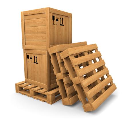 palet: Pila de dos cajas de madera en la paleta. Dos paletas cerca. Embalaje signos de impresi�n. Aislado en blanco.