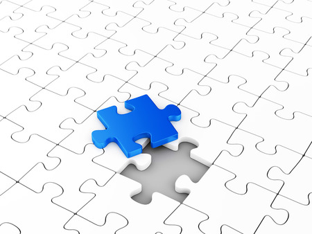 Assembling puzzles. Unique element. Business solutions, leadership and success concept. Imagens - 31947925