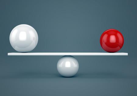 Saldo samenvatting, nauwkeurigheid en harmonie concept. Rood en wit glanzend ballen op plank.