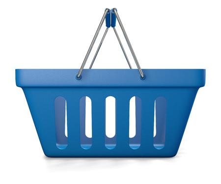 empty basket: 3d illustration of blue shop basket isolated on white