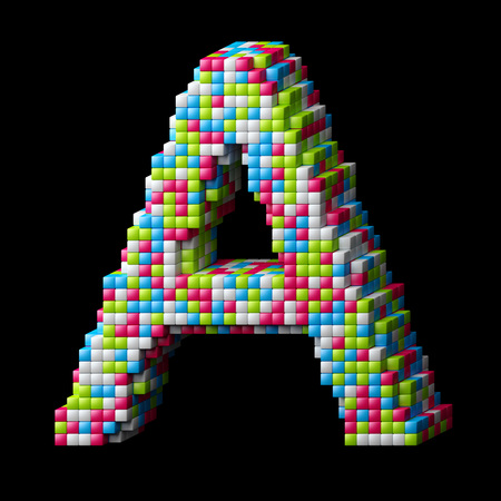 write letter: 3d pixelated alphabet. Letter A made of glossy cubes isolated on black.