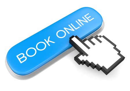 Internet booking service concept. Blue metallic button with text Book online and computer mouse hand cursor isolated on white background. photo
