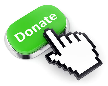 give charity: Crowdfunding and internet charity and contribution concept. Green metallic button with text Donate and hand cursor isolated on white background.