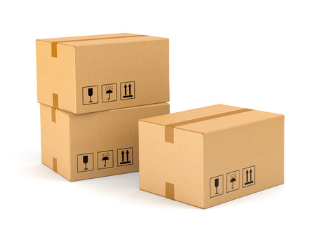 Group of three cardboard boxes isolated on white background. Moving, delivery and warehouse concept.