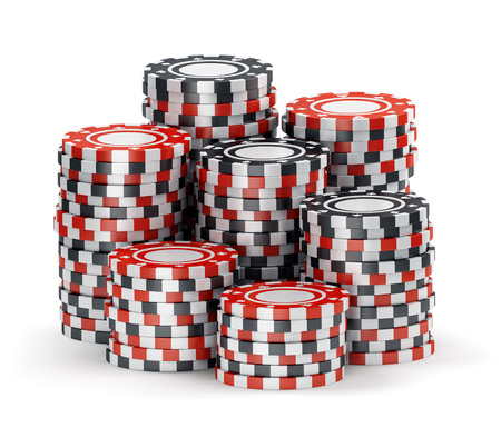 poker chips: Big pile of color black and red casino tokens isolated on white background