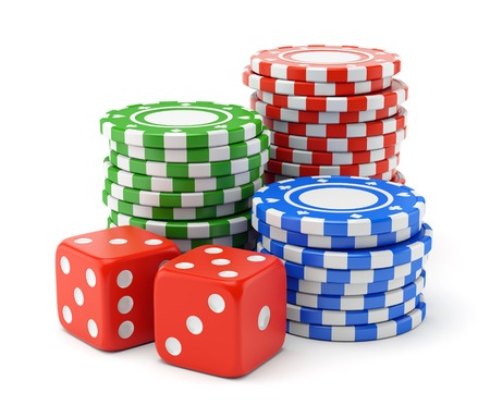 gambling chips: Pile of color green, red and blue gambling chips and two dices isolated on white background. Casino games, luck and winning concept. Stock Photo
