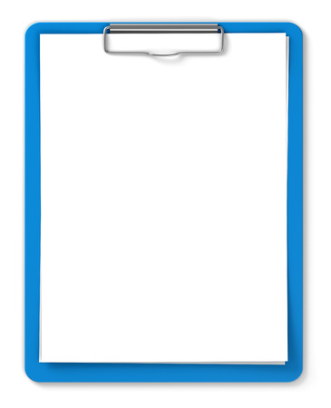 Blue clipboard with blank sheets of paper isolated on white photo
