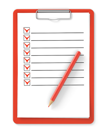 blank check: Checklist. Red clipboard and pencil isolated on white