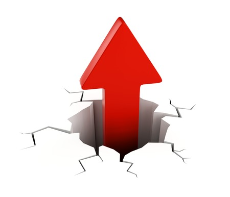 Red arrow getting out from crack on white ground. Abstract financial success, growth and achievement concept. Stock Photo