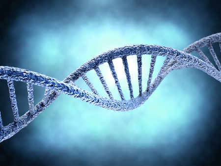human chromosomes: DNA molecule over blue abstract background. Biology, science and medical technology concept.