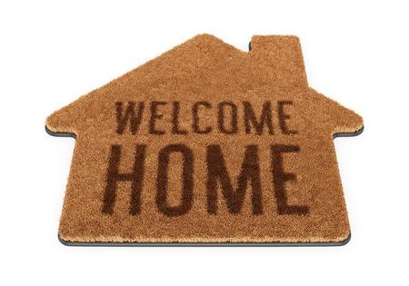 marrón: Marrón forma de la casa de coco felpudo con el texto Bienvenido a casa aislada en el fondo blanco Foto de archivo