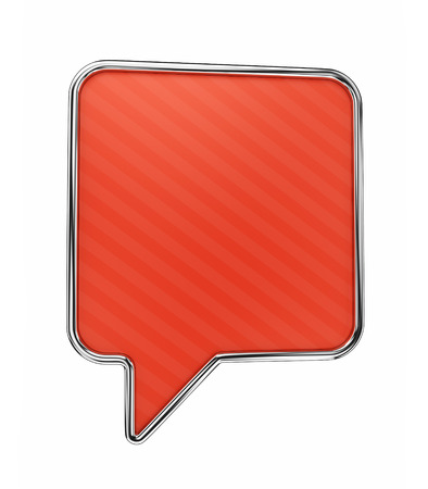 Red speech bubble isolated on white background photo