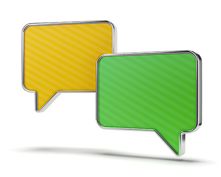 tweet balloon: Two color green and yellow speech bubbles isolated on white background. Web communication and chatting concept.