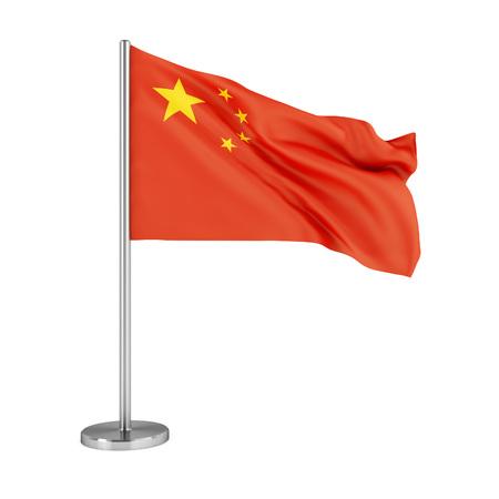 3d ilustración. Bandera de la República Popular de China aislado en blanco.