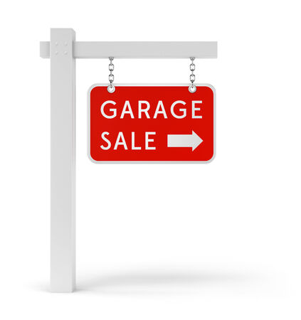 Garage Sale sign with arrow symbol isolated on white background Stock Photo
