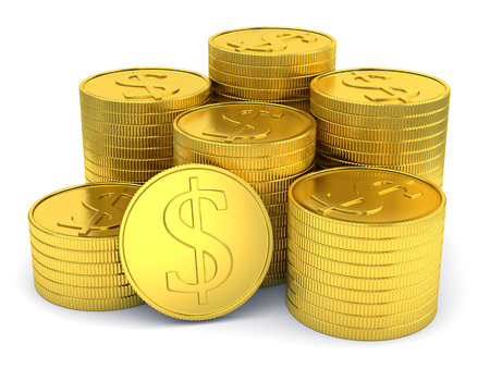 Pile of golden coins with dollar symbol isolated on white background photo
