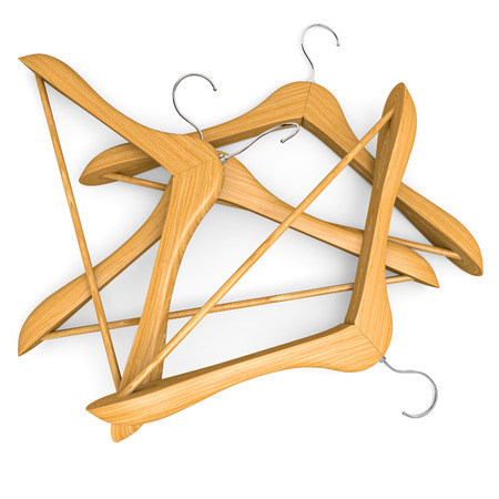 clothes hanger: Pile of wooden hangers on white background. 3d illustration. Stock Photo