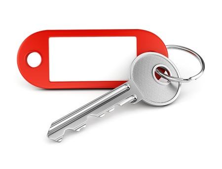 Clé de porte et porte-clés en plastique rouge avec étiquette vierge pour le texte ou le numéro isolé sur fond blanc Banque d'images - 31948586
