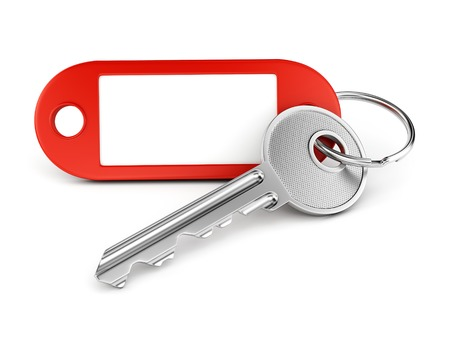 Door key and red plastic keyring with blank tag for text or number isolated on white background Standard-Bild