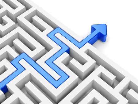 way out: Business strategy and marketing concept. Blue arrow path across labyrinth.