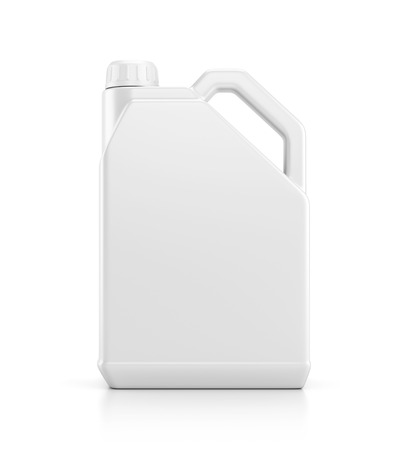 Blank plastic canister for motor oil isolated on white background with reflection effect