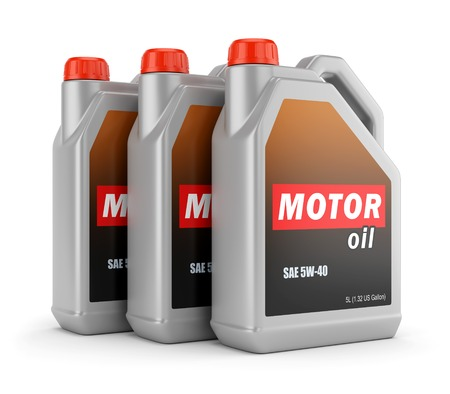 Plastic canisters of motor oil with label isolated on white background Stock Photo