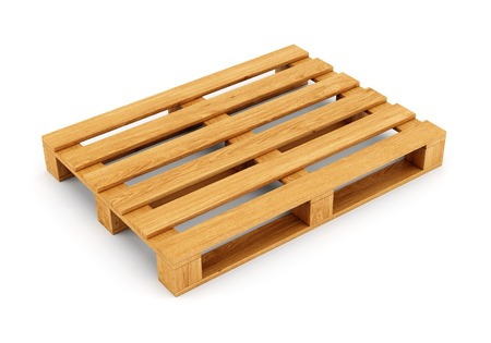 Wooden pallet isolated on white background.