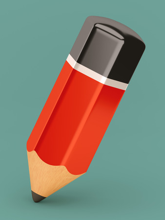 graphite: Isolated retro style red graphite pencil icon Stock Photo