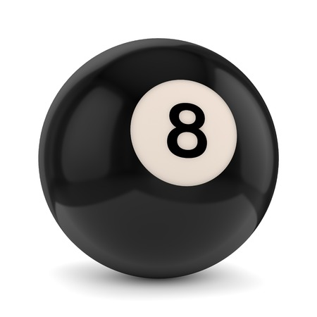 Black pool game ball with number 8 isolated on white background photo