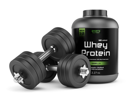 Dumbbells and jar of whey protein isolated on white background. Sports nutrition, bodybuilding supplements, gym, bodybuilding, fitness and healthy lifestyle concept.