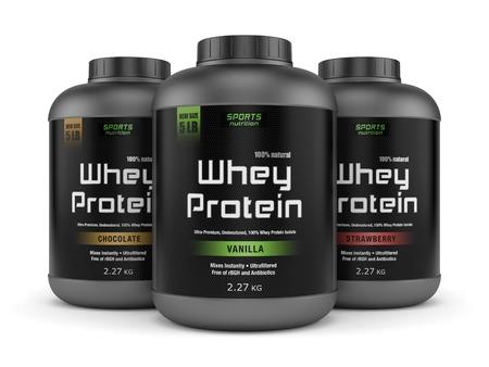 La nutrición deportiva, suplementos de musculación: tres frascos de vainilla, chocolate y fresa con sabor a proteína de suero de leche aislados en fondo blanco.