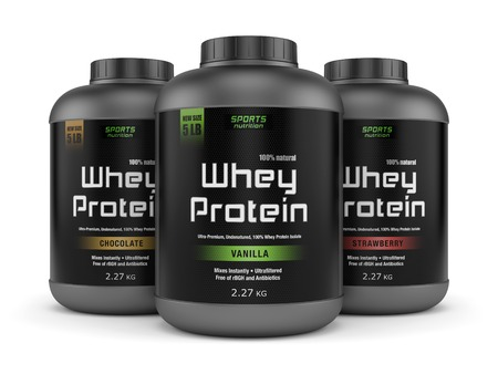 protein: Sports nutrition, bodybuilding supplements: three jars of vanilla, chocolate and strawberry flavored whey protein isolated on white background.