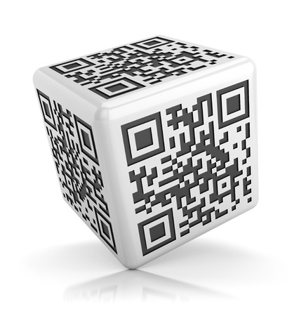 QR code concept. Glossy cube isolated on white background with reflection effect. photo