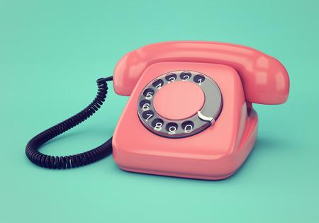 파란색 배경에 핑크 복고 로터리 다이얼 전화의 빈티지 그림
