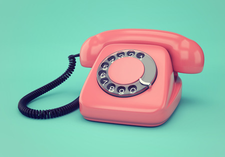 phone cord: Vintage illustration of pink retro rotary dial telephone on blue background