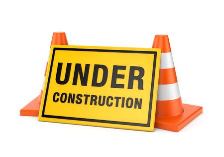 Geel aanbouw teken en twee oranje weg kegels op een witte achtergrond