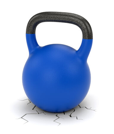 Kettle bell weight and ground crack isolated on white background photo