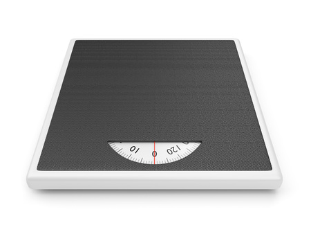 analog weight scale: Bathroom weight scale isolated on white background