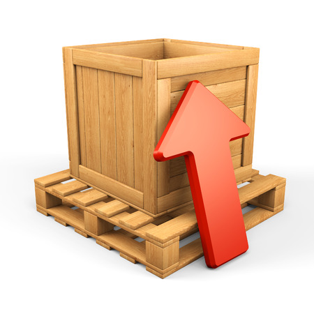 data distribution: Uploaddownload concept. Wooden box on pallet and red arrow isolated on white. 3d illustration