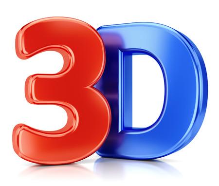 3D glanzend logo op een witte achtergrond met reflectie effect