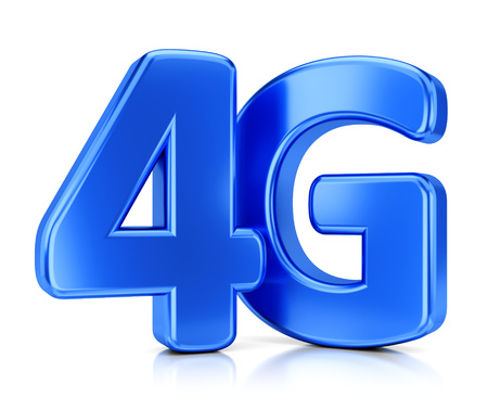 4g: LTE wireless communication technology concept. 4G blue icon isolated on white background. Stock Photo