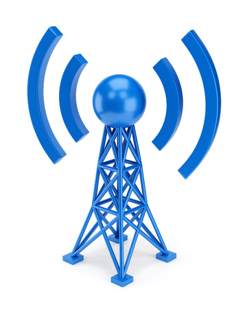 cellular repeater: Abstract radio antenna tower icon isolated on white background. Wireless communication technology concept.