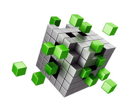 Assembling cube structure isolated on white background. Business, teamwork and creativity concept. photo