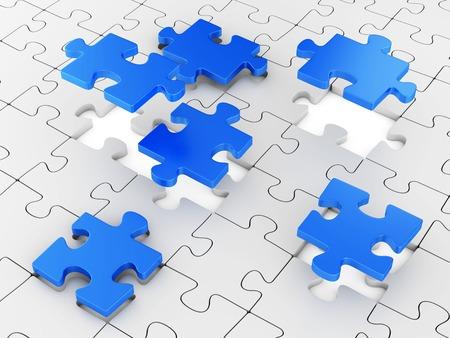 put: Assembling puzzles. Business teamwork concept.