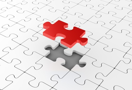 assembling: Assembling puzzles. Unique element. Business solutions, leadership and success concept.