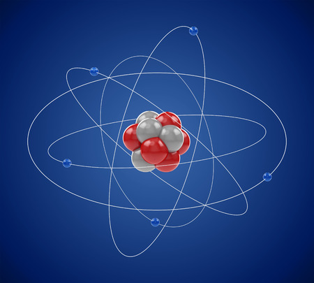 Planetary model of atom made of elementary particles: electrons, neutrons and protons. Atomic physics, chemistry, nuclear power and energy concept.