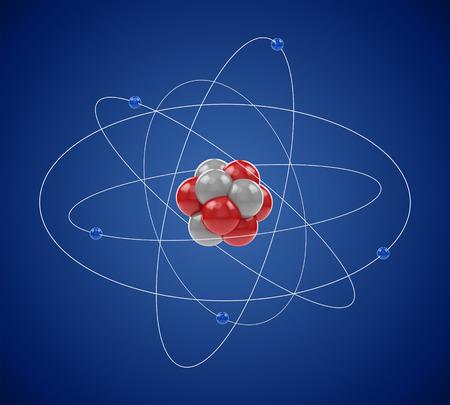 Planetaire model van het atoom gemaakt van elementaire deeltjes: elektronen, neutronen en protonen. Atomaire fysica, chemie, energie en energie-concept kernenergie. Stockfoto
