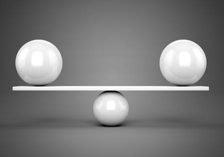 추상 균형과 조화 개념입니다. 회색 배경 위에 판자에 흰색 광택 공입니다.